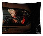 Pin Up Girl In A Classic Rat Rod Car Tapestry