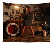 Pin Up Girl With Blow Torch Tapestry