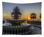 Pinapple Fountain Charleston Sc Sunrise Tapestry