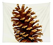 Pine Cone On White Tapestry