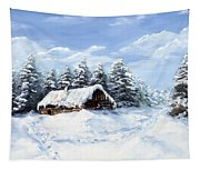 Pine Forest In Winter Tapestry