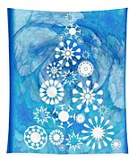 Pine Tree Snowflakes - Baby Blue Tapestry