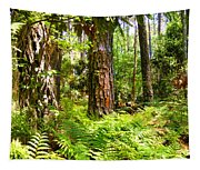 Pine Trees And Ferns Tapestry