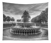 Pineapple Fountain In Black And White Tapestry