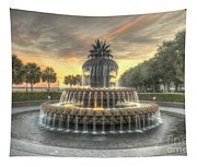Pineapple Fountain Sunset Tapestry