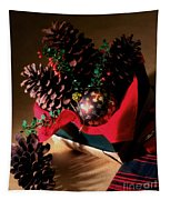 Pinecones Christmasbox Painted Tapestry
