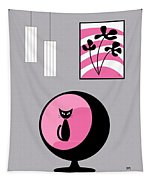 Pink 3 On Gray Tapestry