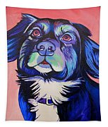Pink And Blue Dog Tapestry
