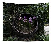 Pink And Purple Flowers In A Slanting Container Tapestry