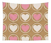 Pink And White Hearts Tapestry
