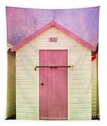 Pink Beach Hut Tapestry