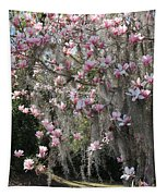 Pink Blossoms And Gray Moss Tapestry