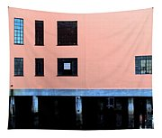 Pink Building On The Wharf Tapestry