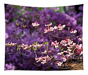 Pink Dogwood With Purple Azaleas Tapestry