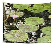 One Pink Water Lily With Lily Pads Tapestry