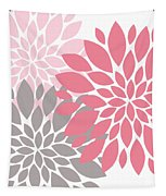 Pink Gray Peony Flowers Tapestry