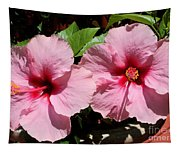Pink Hibiscus Blooms Tapestry