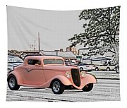 Pink Hot Rod Cruising Woodward Avenue Dream Cruise Selective Coloring Tapestry