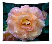 Pink Rose Bathed In Rain Tapestry