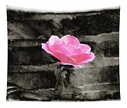 Pink Rose In Black And White Tapestry