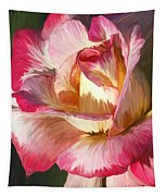 Pink Rose Painted  Tapestry