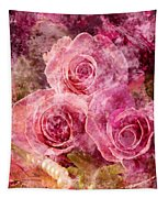 Pink Roses And Pearls Tapestry
