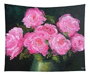 Pink Roses In A Brass Vase Tapestry