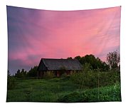 Pink Sunrise. Old Barn Tapestry