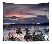 Pink Sunset At The Lake Tapestry