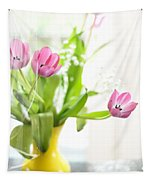 Pink Tulips In Yellow Vase Tapestry
