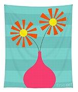 Pink Vase On Blue Tapestry