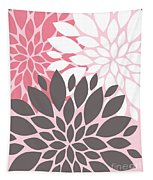 Pink White Grey Peony Flowers Tapestry