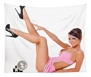Pinup Girl In Pink Tapestry