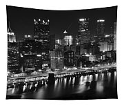 Pittsburgh Black And White Night Tapestry