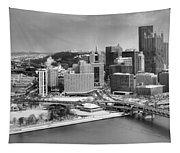 Pittsburgh Black And White Winter Panorama Tapestry