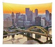 Pittsburgh Incline Sunrise Panorama Tapestry