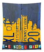 Pittsburgh Skyline License Plate Art Tapestry by Design Turnpike