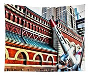 Plane In The City Tapestry