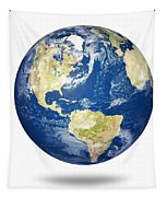 Planet Earth On White - America Tapestry