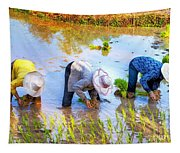Planting Rice Tapestry