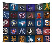 Play Ball Recycled Vintage Baseball Team Logo License Plate Art Tapestry