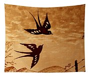 Playful Swallows Original Coffee Painting Tapestry