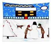 Playing In The Snow Tapestry
