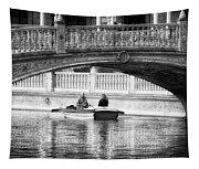Plaza De Espana Rowboats Bw Tapestry
