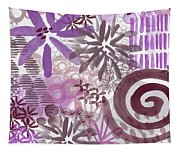 Plum And Grey Garden- Abstract Flower Painting Tapestry