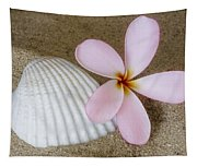 Plumeria Flower And Sea Shell Tapestry