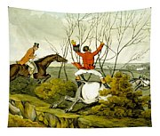 Plunging Through The Hedge From Qualified Horses And Unqualified Riders Tapestry