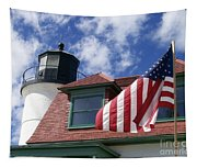 Point Betsie Lighthouse With Flag Tapestry