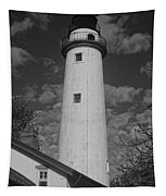 Pointe Aux Barques Lighthouse Black And White Tapestry