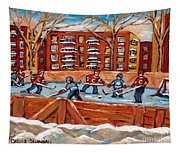 Pointe St. Charles Hockey Rink Southwest Montreal Winter City Scenes Paintings Tapestry
